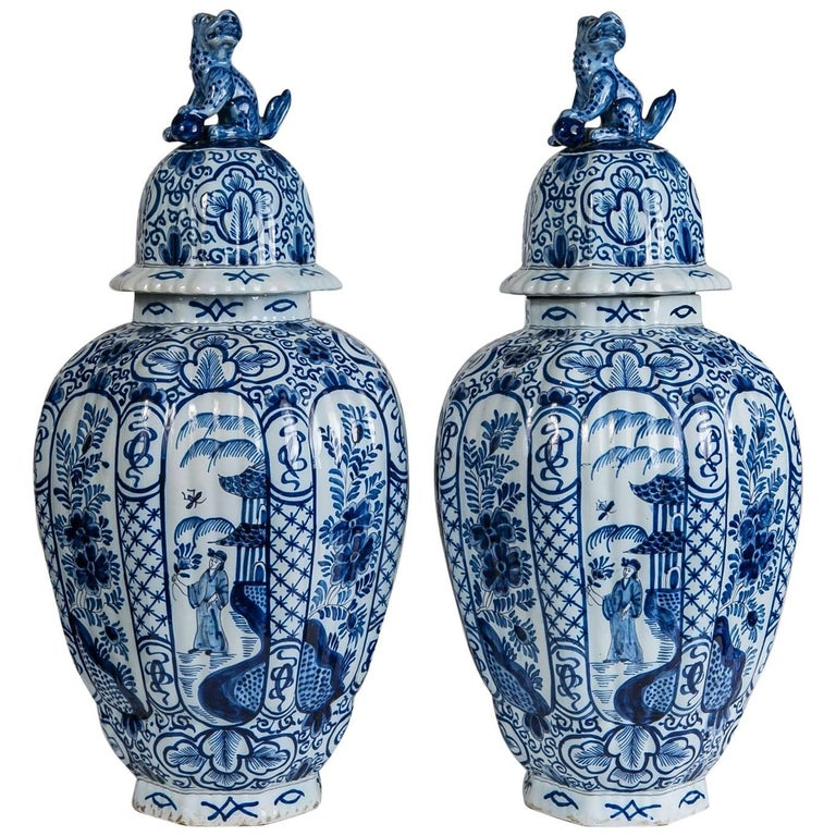 Delft Blue And White Ginger Jars For