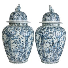 Pair of Blue and White Delft Ginger Jars