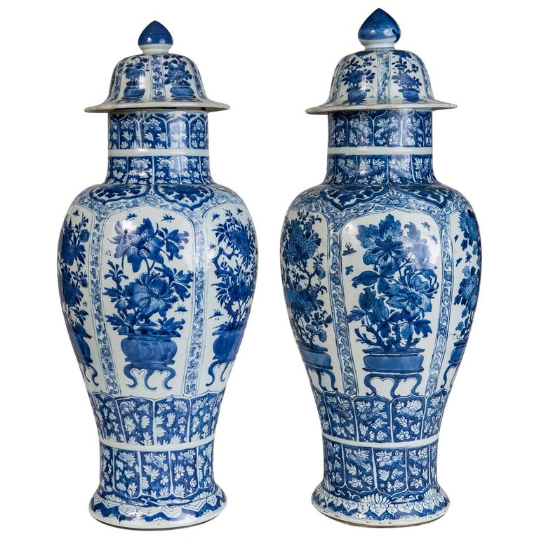 Blue and White Porcelain Ginger Jars Antique Chinese