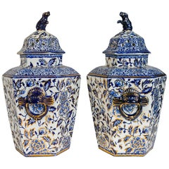 Pair of Blue and White Jars Made in England circa 1820