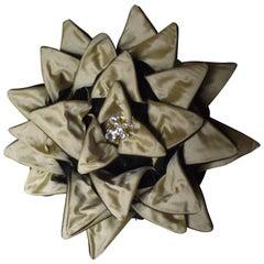 Black Dalia Pillow, Throw Pillow, Unusual Black and Gold, Original Design Pillow