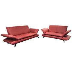 """Sofa Set """"Rossini"""" by Manufacturer Koinor in Aluminium and 100% Genuine Leather"""