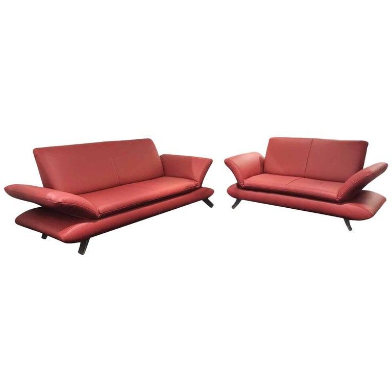 sofa set rossini by manufacturer koinor in aluminium and 100 genuine leather for sale at 1stdibs. Black Bedroom Furniture Sets. Home Design Ideas
