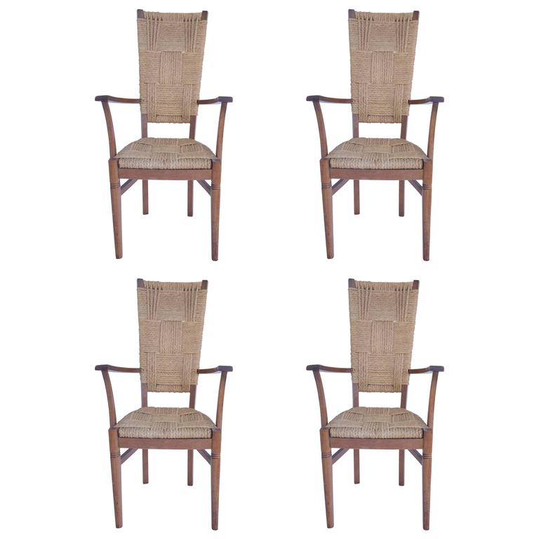 Audoux-Minet, Suite of Four Armchairs, Rattan and Wood, circa 1970, France For Sale