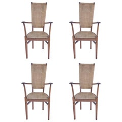 Audoux-Minet, Suite of Four Armchairs, Rattan and Wood, circa 1970, France