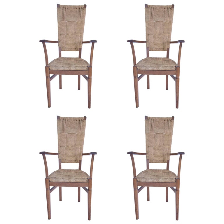 Audoux-Minet, Suite of Four Armchairs, Rattan and Wood, circa 1970, France 1
