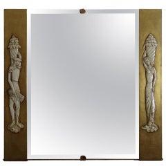 Gio Ponti Style 1930s Italian Gilt Mirror