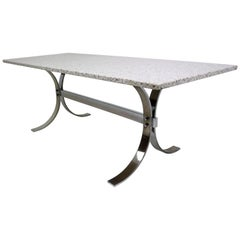 Milo Baughman Attributed Granite and Chrome Coffee Table