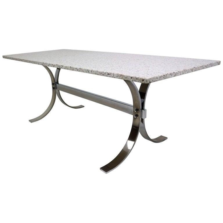 Milo Baughman Chrome Coffee Table: Milo Baughman Attributed Granite And Chrome Coffee Table