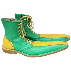 Vintage Long Green and Yellow Clown Shoes