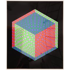 Signed Victor Vasarely Op Art Cube Serigraph