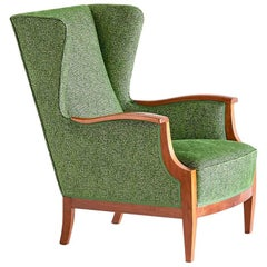 1930s Frits Henningsen Wingback Chair in Mahogany and Green Rubelli Fabric