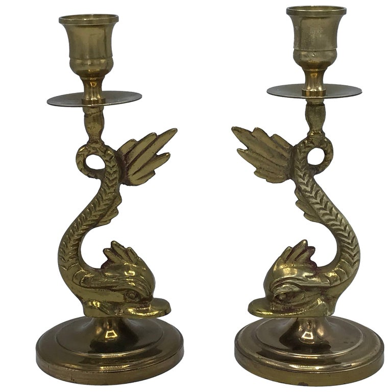 1960s brass koi fish candlesticks pair at 1stdibs for Koi furniture