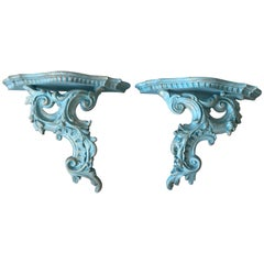 1980s Blue and Gold Rococo Style Wood Wall Shelves, Pair
