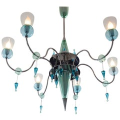 20th Century Italian Mint Green and Turquoise Murano Glass Chandelier, 1960s