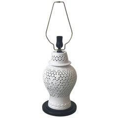 1960s Blanc De Chine Pierced Cherry Blossom Lamp