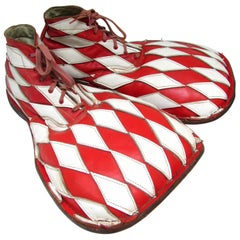 Vintage Harlequin Check Clown Shoes