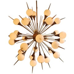 Modern Murano Glass and Brass sputnik Chandelier