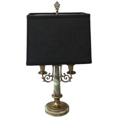 1940s Italian Brass and Onyx Bouillotte Candlestick Lamp with Shade