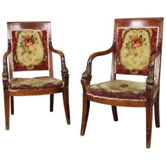 Pair of French Chairs 19th Century Charles X