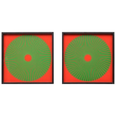 Pair of Wolfgang Ludwig screenprints in red and green