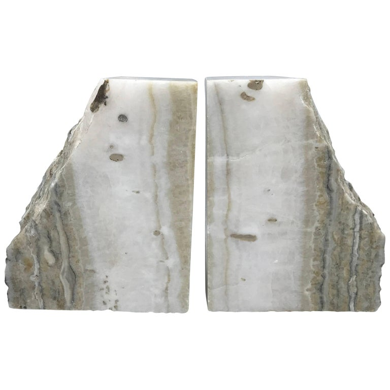 1950s White Stone Bookends, Pair