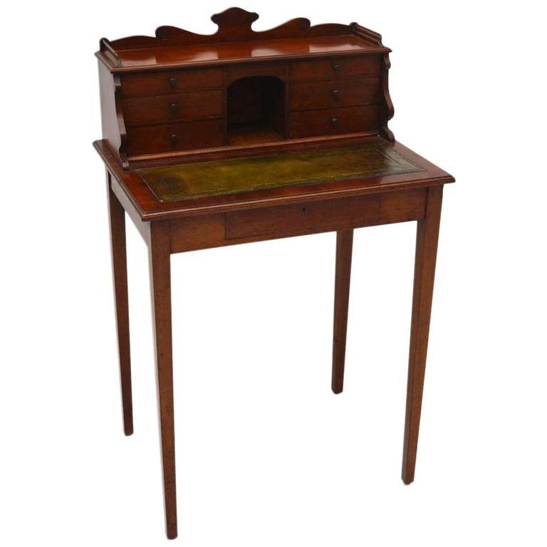 Small Antique Victorian Mahogany Escritoire Desk For Sale