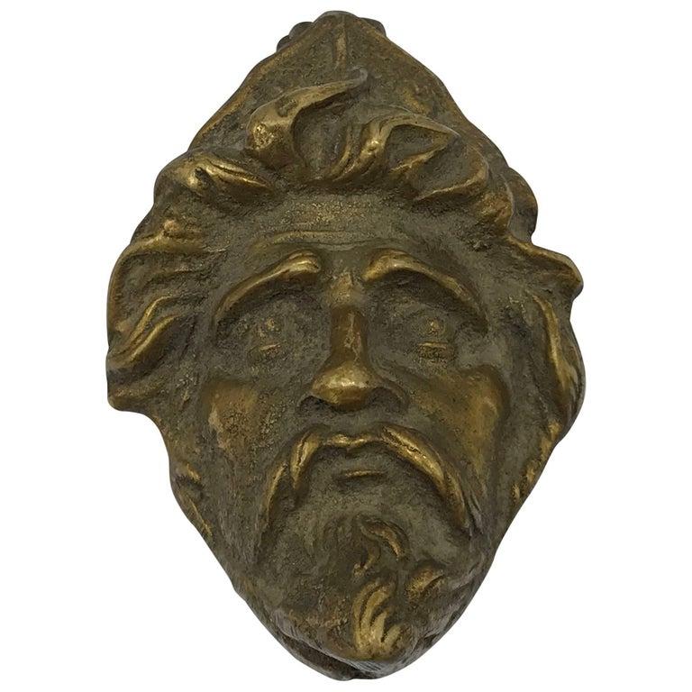1950s Brass Male Face Door Knocker Sculpture