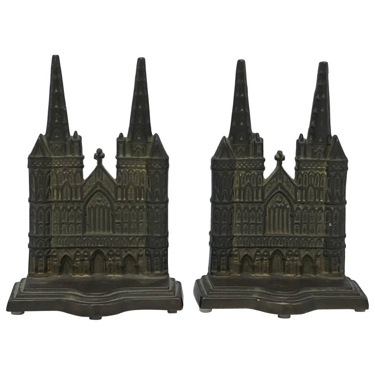 1960s Bronze Litchfield Cathedral Church Bookends, Pair
