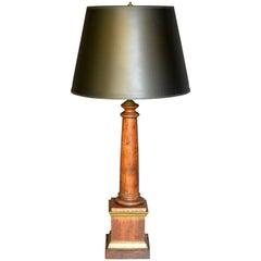 Italian Wood Column Lamp