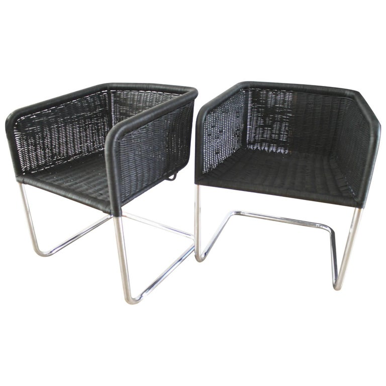 Pair of Fabricius and Kastholm Ebonized Wicker and Chrome Chairs