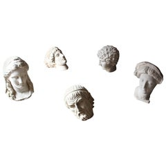 Highly Decorative Group of Five 20th Century Plaster Portrait Head Studies