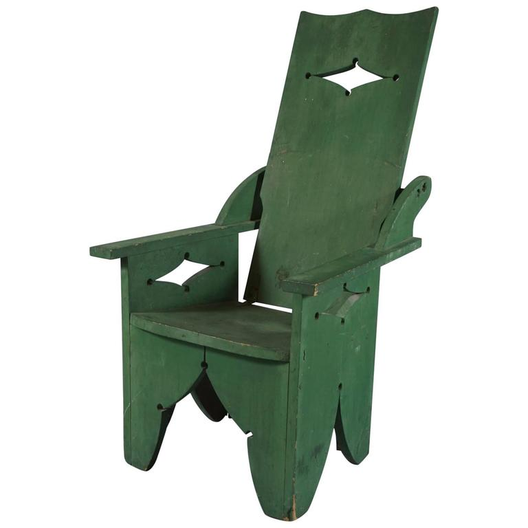 Adjustable Adirondack Chair in Green For Sale