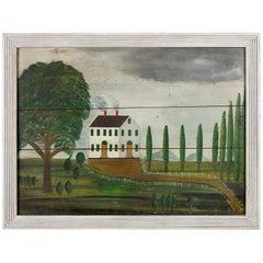 Folk Art Fireboard Depicting a White House in a Landscape