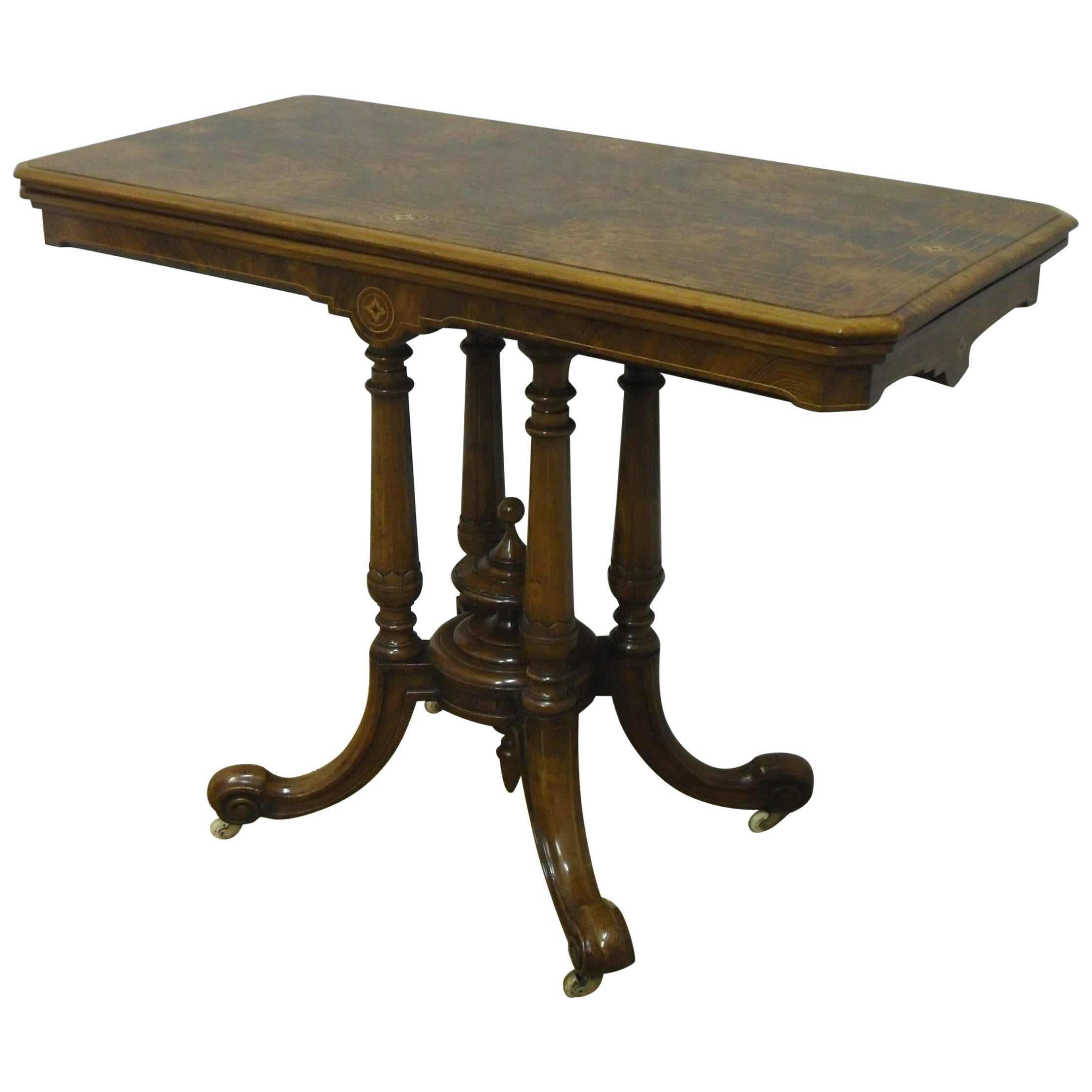 English Victorian Walnut Freestanding Occasional Or Games Table