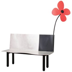 Aki Kuroda Contemporary Aluminium Red Flower Bench