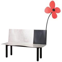 Contemporary Painted Aluminum Red Flower Bench by Aki Kuroda