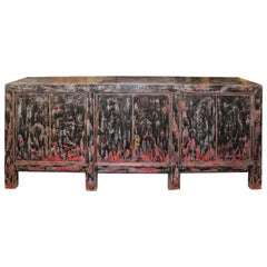 Antique Server in Variegated Tones of Red and Black