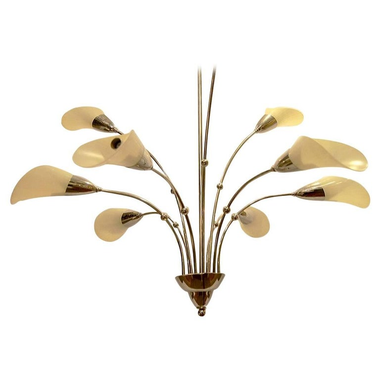 Large Moderne Nickel Plated Calla Lily Chandelier For