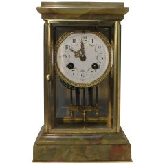 French 19th Century Onyx and Brass Four Glass Mantel Clock