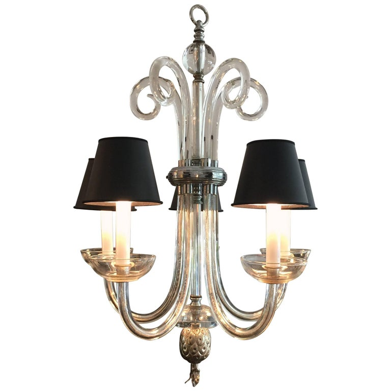 Austrian Deco Crystal Five-Arm Chandelier 1