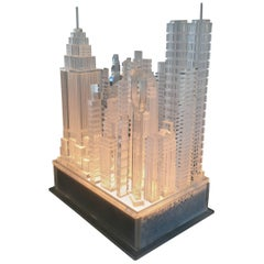 New York City Skyline Table Lamp in Lucite