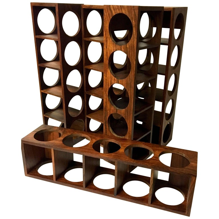 Danish Modern Five Bottle Solid Rosewood Wall-Mounted Wine Racks For Sale