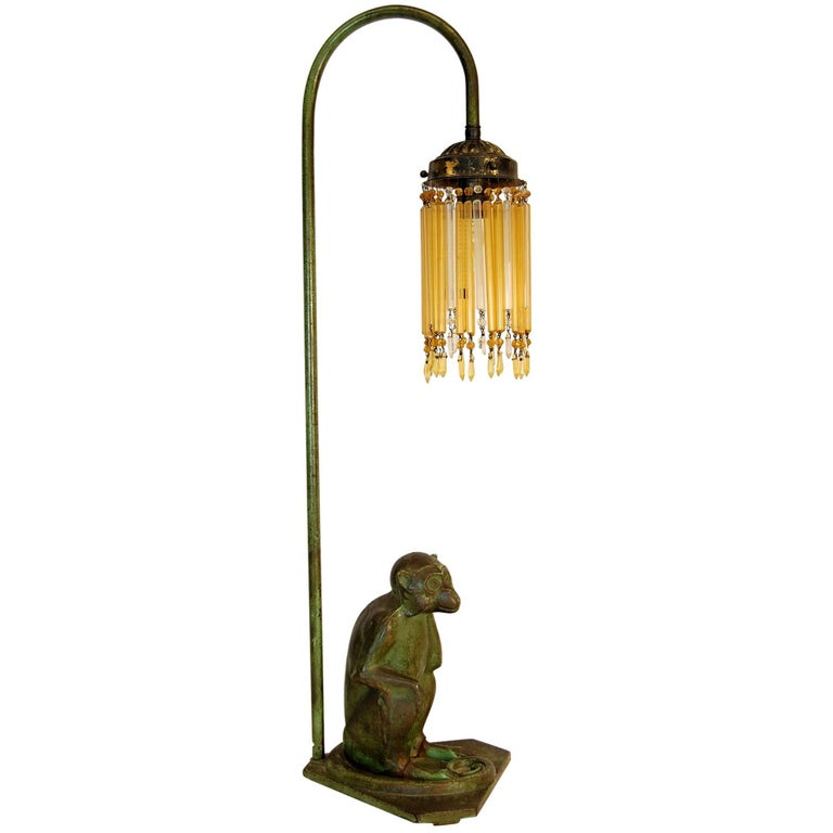 Late 19th Century Steel Figure of Monkey Table Lamp Base with Amber Glass Drops