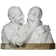 Italian 19th-20th Century Carrara Marble Bust Group of a Romantic Elderly Couple