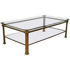 Spanish Brass and Glass Two-Tier Coffee Table, 20th Century