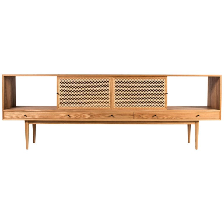 Tinselor Cabinet by Tretiak Works, Elm Credenza with Handcrafted Cane Doors For Sale