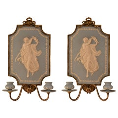 Pair of Antique Jasperware Silver On Bronze Wall Sconces