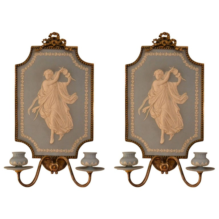 Wall Sconces Antique Silver : Pair of Antique Jasperware Silver On Bronze Wall Sconces For Sale at 1stdibs