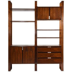 Mid-Century Modern Style Walnut Wall Unit Bookcase